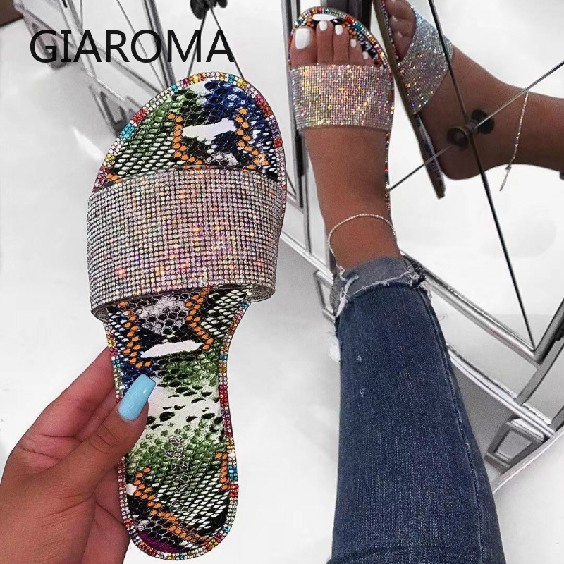 New Summer Women Sandals Crystal Slippers Glitter Flat Bling Female Candy Color Flip Flops Outdoor Ladies Slides Hot Beach Shoes