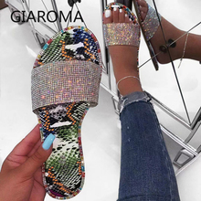New Summer Women Sandals Crystal Slippers Glitter Flat Bling Female Candy Color