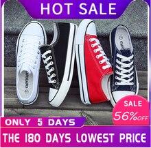 À la mode jeunes hommes chaussures décontracté unisexe blanc baskets respirant marche toile chaussures hommes femmes rouge à lacets chaussures plates