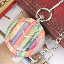 Open Face Pocket Watch Colorful Wooden Pendant Watch Quartz Analog Chain Watches reloj de bolsillo hombre цена