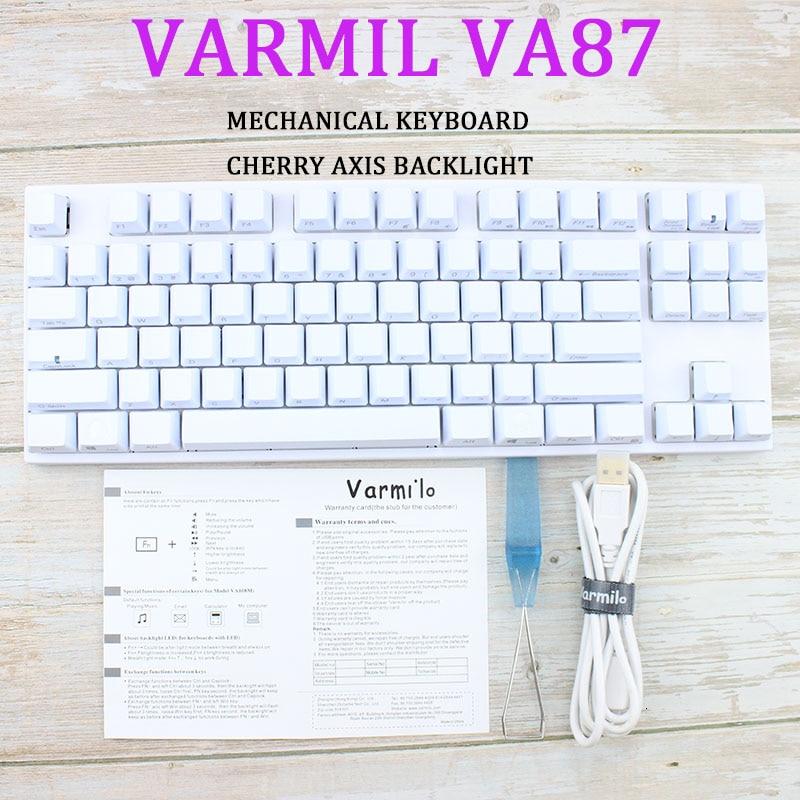 Varmil Va87m Backlit Wired Mechanical Gaming Keyboard Pbt Laser Engraving Sublimation Keycaps Cherry Green Axis Tea Shaft