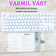 Varmil Va87m Backlit Wired Keyboard Gaming Mekanik PBT Laser Engraving Sublimasi Tombol Cherry Hijau Sumbu Teh Poros(China)