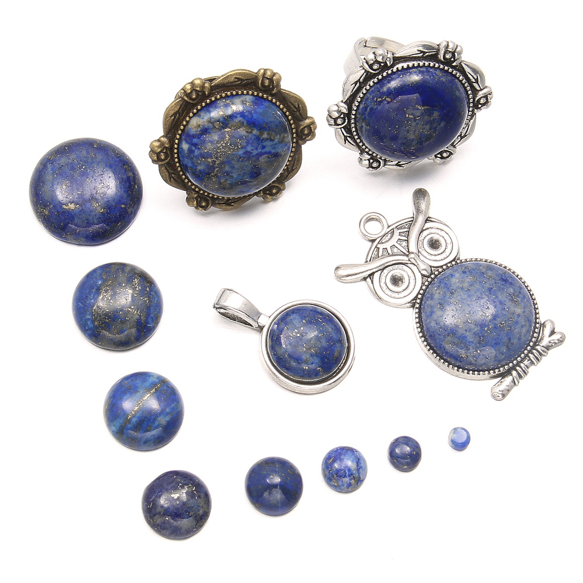 Natural Stones Lapis Lazuli Stone Cabochon 10 12 14 16 18 Mm Round No Hole Beads For Making Jewelry DIY Accessories Loose Beads