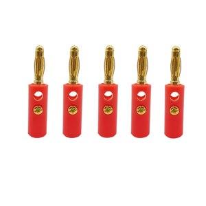 100 sztuk pozłacane 4mm wtyczka bananowa głośnik Audio śruba Banana wtyczki męskie Adapter 4mm kabel bananowy złącze wtyczka bananowa