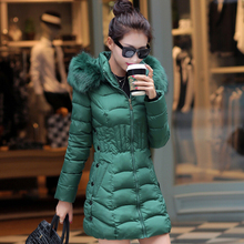 2020 Fur Hooded Female Winter Down Jacket Cotton Slim Overcoat Elegant Casual Long Sleeve Warm Women