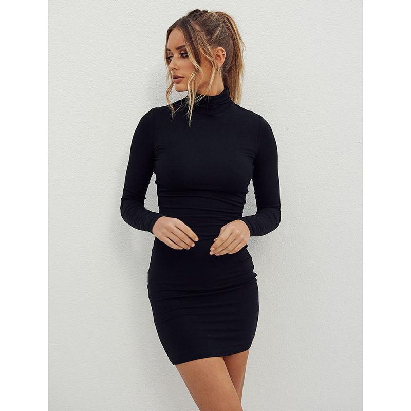 Стоячий воротник с длинным рукавом сплошной цвет сексуальное обтягивающее бедра платье основа платье - Цвет: Черный