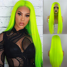 Fluorescent Green Synthetic Wigs Colorful Lace Front Wig Long Straight Hair Cosplay Wig For Women Synthetic Hair Wigs Fibre