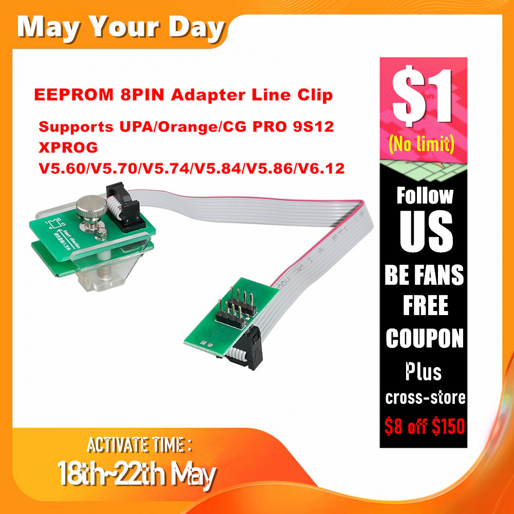 EEPROM Adapter 8Pin Line Clip Soic 8 Sop8 Test Clip Eeprom Clip Socket Clip Supports XPROG V6.12/UPA/Orange/CG PRO 9S12/iProg