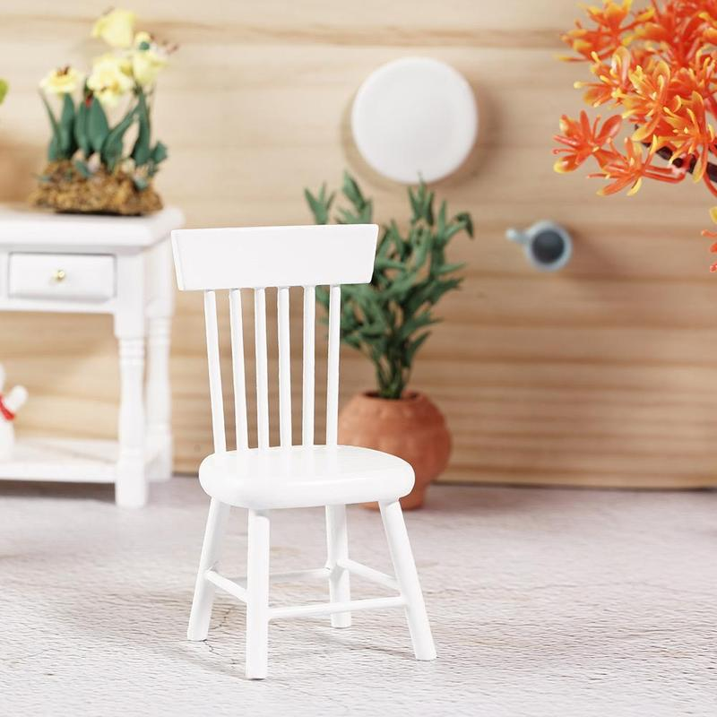 1/12 Simulation Sofa Stool Chair Dollhouse Miniature Dining Furniture White Chair Model Toys For Doll House Decor Accessories