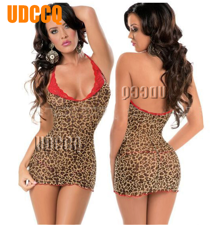Sexy Leopard Lace Lingerie Sheer Babydoll Baby Doll Dress Underwear Chemises Catsuit Product Erotic Notte Intimo Dresses 8913