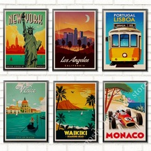 NUEVA York, Ruta 66, Venecia, San francisco, paisaje de viaje Vintage Retro póster decorativo pared Kraft papel póster Bar decoración del hogar