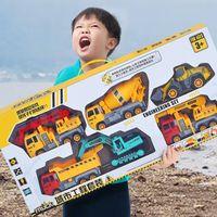 4 피스 모델 자동차, 아기, 어린이 장난감, 관성 자동차, 엔지니어링 굴삭기, 불도저 덤프 트랙터, 트럭, 남자를 위한 차량 교육 선물