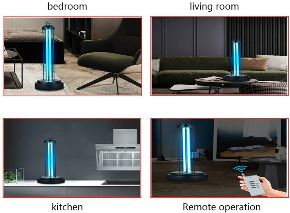Germicidal Lamp Led UV Disinfection Lamp 38W High Ozone 360 Degree Remote Ultraviolet Lights Coronavirus Prevention for Home 38