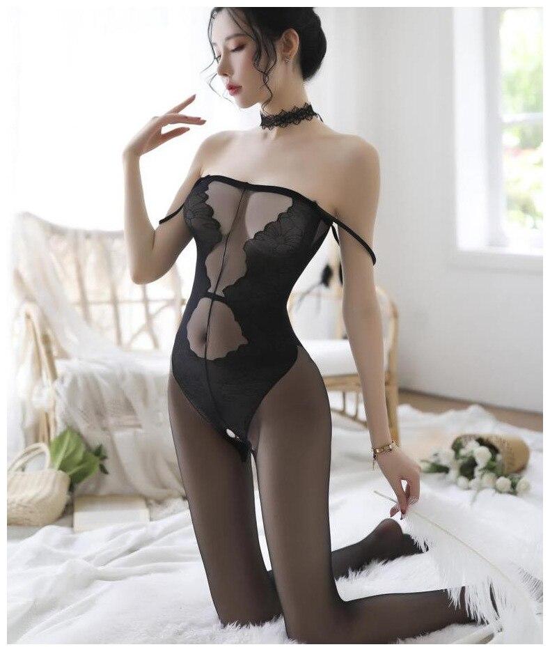 H9e515e51628847679e4499af7e2da512m Lencería Sexy íntima para mujer, disfraces sexys de osito, kimono porno, mono de manguera, ropa interior, medias elásticas de malla de color negro ajustado