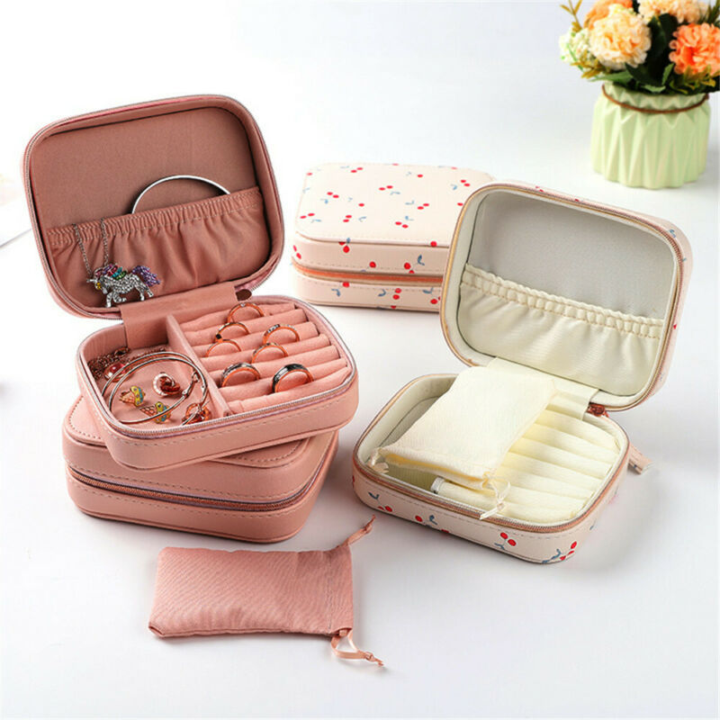 New Arrived Cherry PU Leather Portable Jewelry Box Fashion Print Organizer Travel Leather Jewellery Case Storage