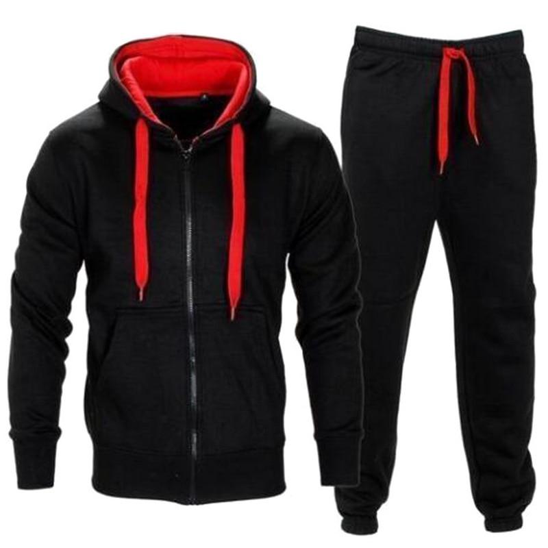 Puimentiua Tracksuit Men 2019 Autumn Sportwear Fashion Mens Set 2PC Zipper Hooded Sweatshirt Jacket+Pant Moleton Masculino Sets