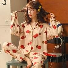 Kadın kıyafetleri sonbahar kışlık pijama setleri pijama güzel karikatür Pijamas Mujer uzun kollu pamuklu seksi pijama kadın