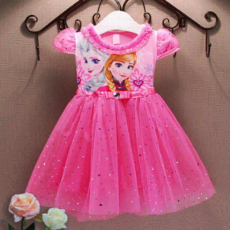 Girl Dresses 2019 Summer Kid Clothes  Princess Anna Elsa Dress Snow Queen Cosplay Costume New  Years  Party Children Clothing