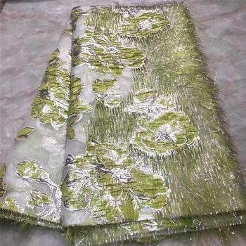 African lace fabric 2020 Green High Quality Embroidered Organza Lace french Tulle Lace Fabric With Tassel NLY2-1