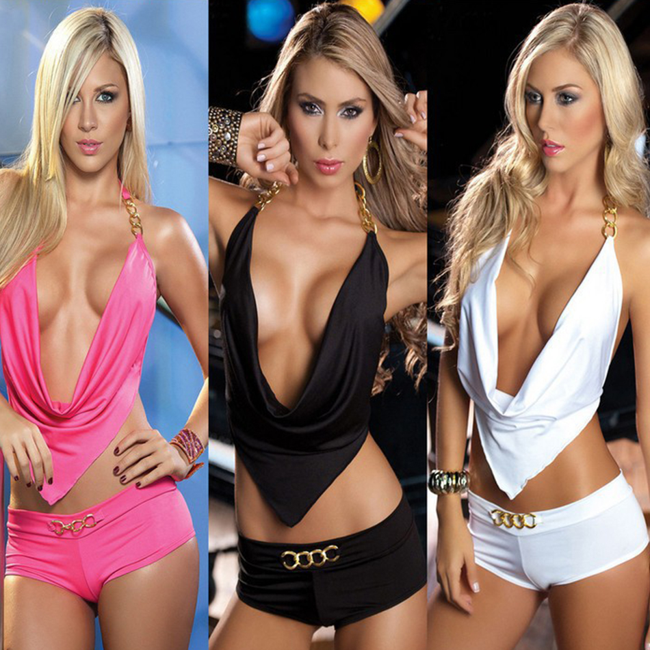 Ms Ragdoll Two Piece Sexy Deep V-neck Clubwear Chain Decoration Erotic Set Bar Night Club Party Clothes Pole Dancing Costume