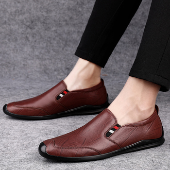 Elegant Brand Italian Men Loafers Genuine Leather Men Casual Shoes Moccasins Breathable Slip On Driving Shoes Plus Size 37-46