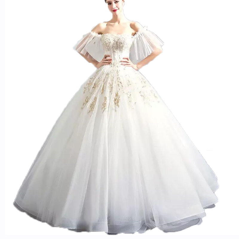 Latest Fashion Wedding Dresses Illusion Bodice Tiered Dress Lace Dresses Bateau Floor-Length Long Sleeve Lace-up Bridal Gowns