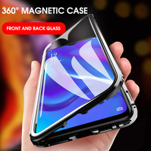 For Huawei Honor View 20 Case 360 Magnetic Adsorption Double Tempered Glass for Full Hard Protective Cover