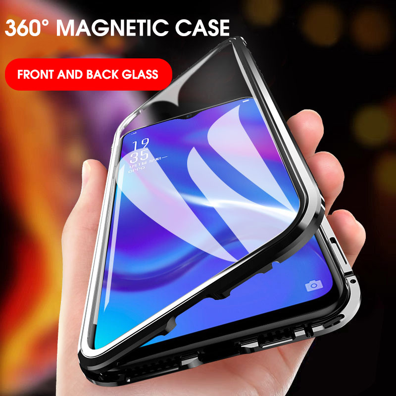 For Huawei Honor View 20 Case 360 Magnetic Adsorption Double Tempered Glass Case for Honor 20 Full Hard Protective Case Cover image