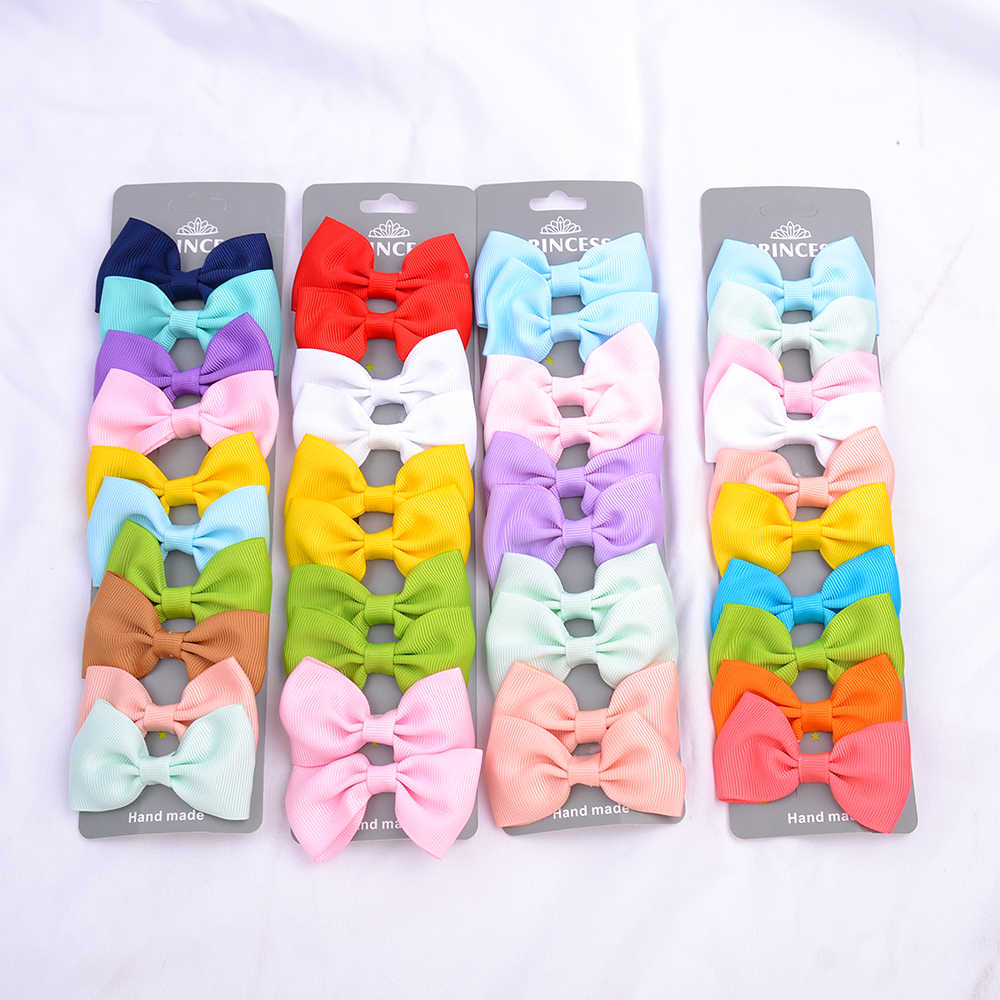 10 PCS/Set  Solid Grosgrain Ribbon Hair Bows With Clips Girls Small Bow For Children Kid Headwear DIY Hair Accessories Best Gift