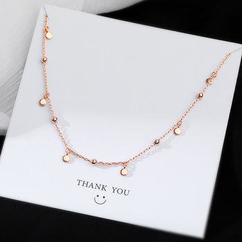 Real 925 Sterling Silver Geometric Round Choker Necklace For Fashion Women Minimalist Fine Jewelry Cute Accessories gift 5