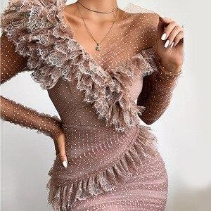 Женское короткое Сетчатое платье Ordifree, вечернее облегающее платье в горошек с длинными рукавами и оборками, лето 2020