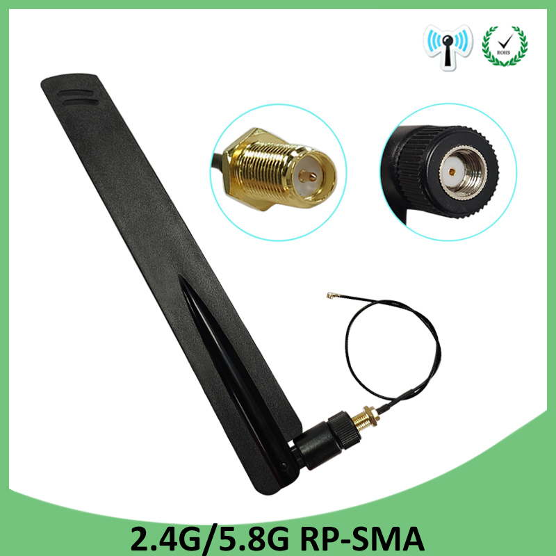 2.4GHz 5GHz 5.8Ghz Antenna Wifi Real RP-SMA Dual Band 8dBi 2.4G 5G 5.8G Antena Aerial SMA Female + Ufl./ IPX 1.13 Pigtail Cable