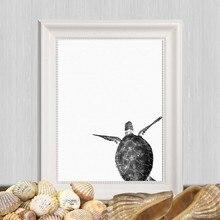 Affiche d'art en toile de tortue de mer imprimée, décor de maison, peinture d'art moderne minimaliste de créatures de la mer, décoration nautique