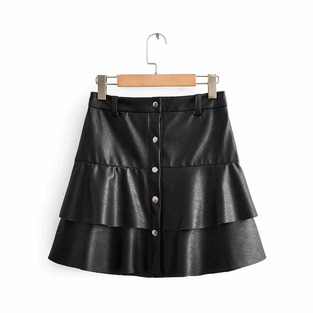 ZA 2020 Neue frühjahr frauen schwarz PU Faux leder kräuselte gefaltete mini rock fashion high street casual weibliche frau kleidung