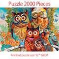 Quebra cabeça 2000 peças adulto quebra cabeça coruja família cor abstrata pintura puzzle para crianças brinquedo educativo presente 2000 quebra cabeças
