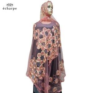 Image 2 - 2020 nowa afrykańska kobiety szaliki muzułmańskie haftowane netto szalik przezroczysty szalik koło Deisgn szalik na szale Pashmina BM802