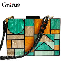 2020 New Brand Acrylic Patchwork Evening Bags Vintage Women Messenger Bags Geometric Pattern Clutches Party Prom Handbags Purses