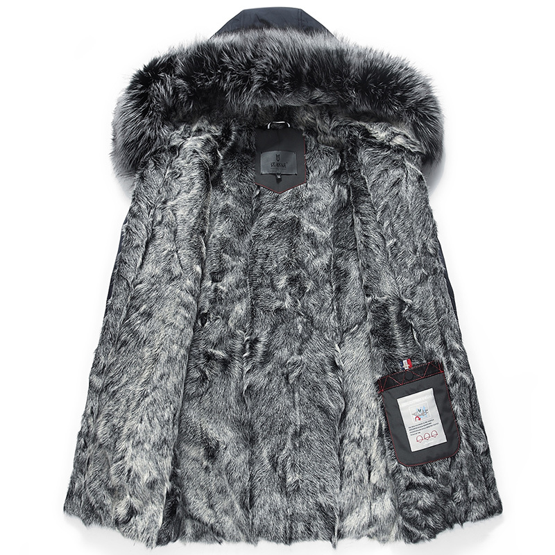 Real Fur Coat Men Parka Winter Jacket Silver Fox Fur Collar Long Sheep Shearling Wool Lining Parkas De Hombre 99-0518