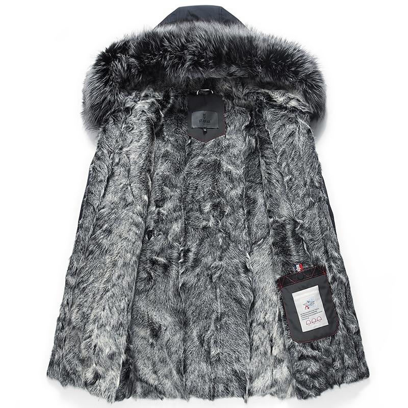 Real Fur Coat Men Parka Winter Jacket Silver Fox Fur Collar Long Sheep Shearling Wool Lining Parkas De Hombre 99-0518