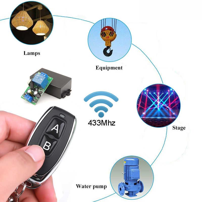 اللاسلكية RF 433Mhz العالمي التيار المتناوب 110 ~ 220 فولت 10A 1CH استقبال جهاز التحكم عن بعد الارسال ضوء التبديل مصباح منزل لمبة مضخة LED المرآب