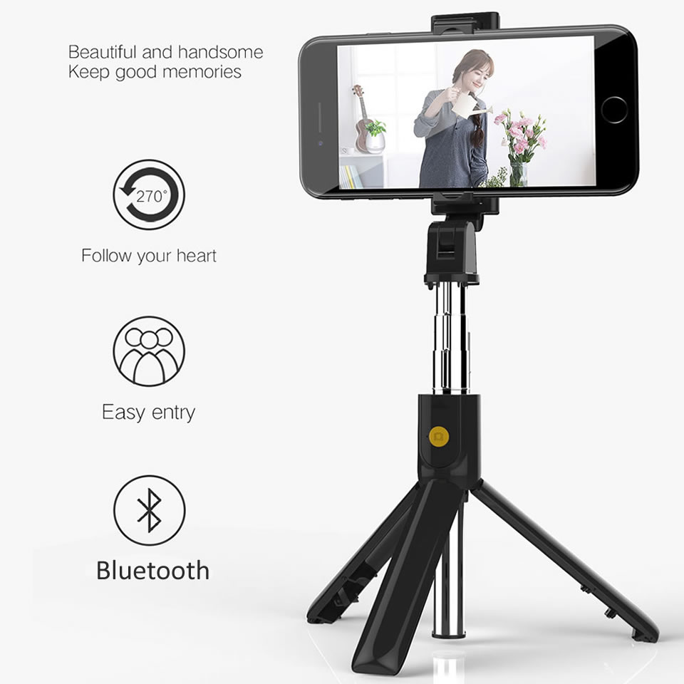 Wireless Bluetooth Selfie Stick With Tripod Shutter Remote Control, 3 in 1 Mini  Foldable Extendable Handheld Monopod for iPhone