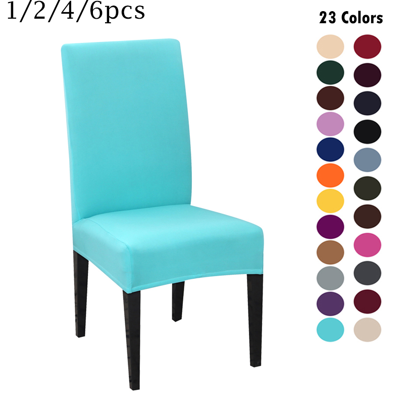 1/2/4pcs Spandex Stretch Elastic Chair Covers Solid Color Modern Plain Chair Cover Seat Cover For Dining Hotel Wedding Banquet