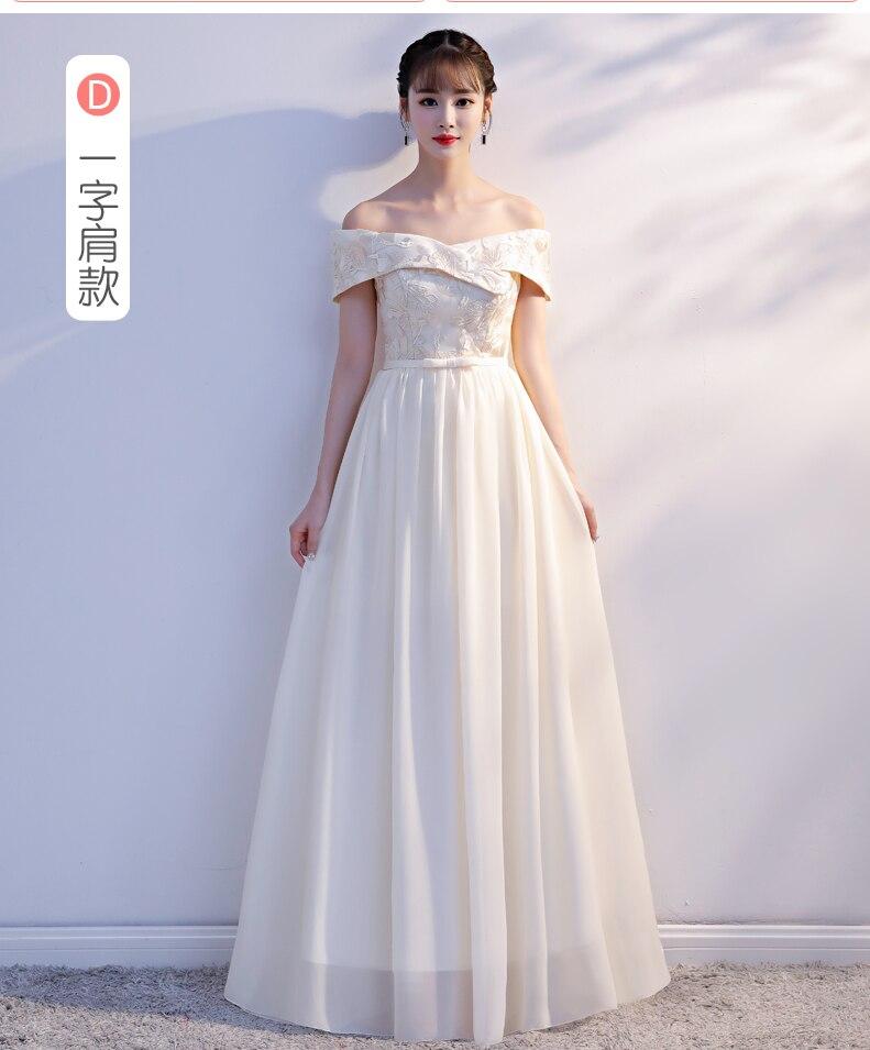 Boat Neck Embroidery Chiffon Red Burgundy   Bridesmaid     Dress   Sister Long Chiffon Vestido De Festa Longo Sexy Prom   Dress   Champagne