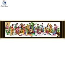 Joy sunday toile en tissu imprimé, 11CT, 14CT, DMC, point en croix, bricolage fait à la main, décoration de la maison