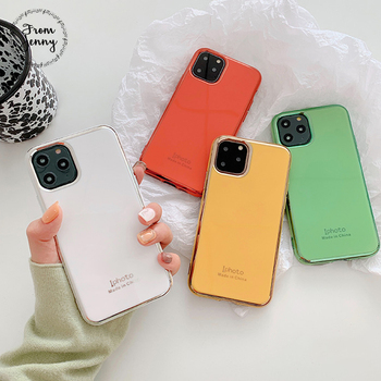 From Jenny Simple plating for iPhone 11 Pro x xr xs max 6 6s 7 8 Plus solid color mobile phone TPU protection soft shell 1