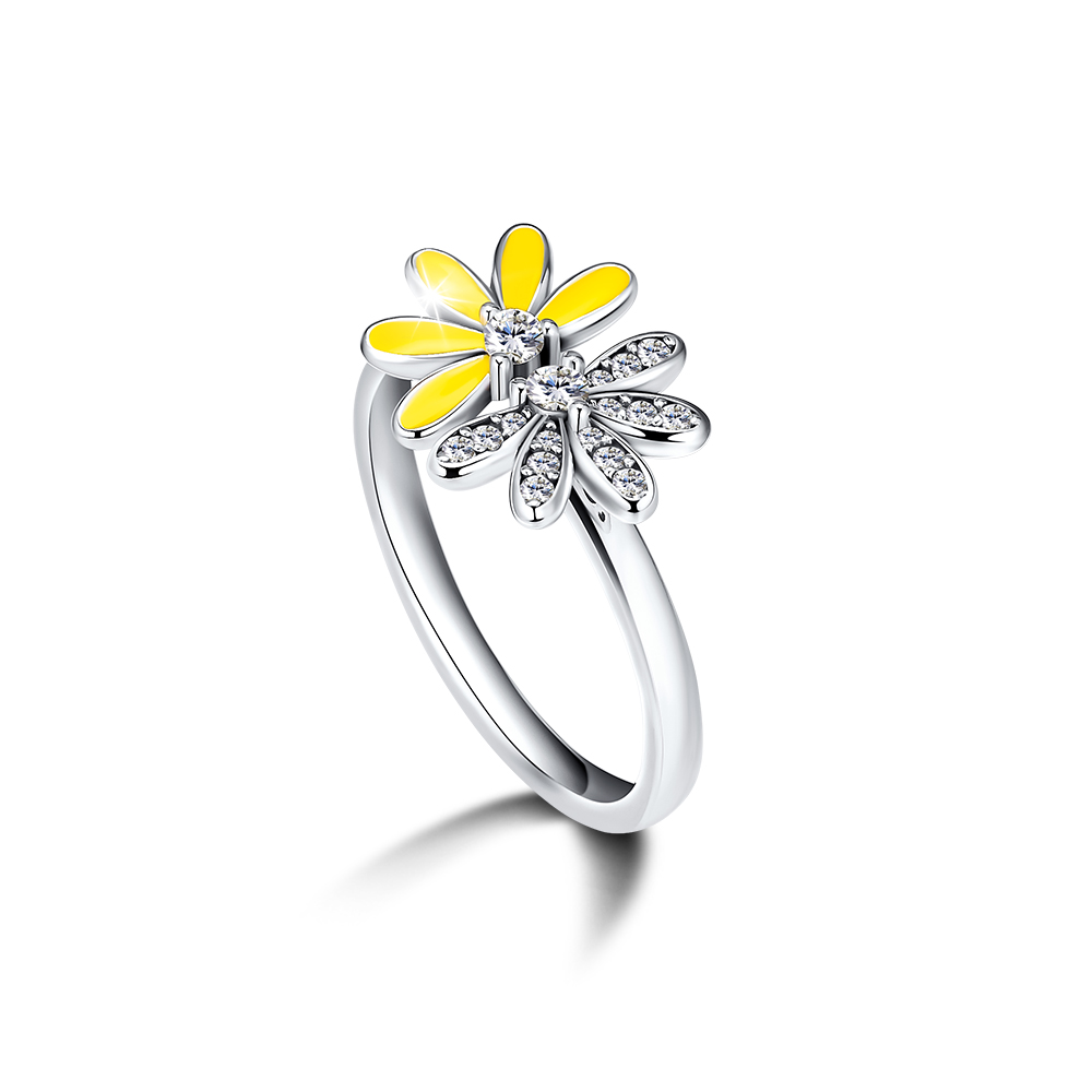 Daisies-Rings 925-Sterling-Silver-Jewelry Yellow Enamel Half with 100%Authentic Dazzling