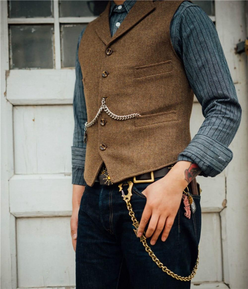 Men's Suit Vest V Neck Notched Lapel Slim Fit Leisure Wool Herringbone Tweed Vest Men For Wedding Groomsmen Mens Waistcoat Vest