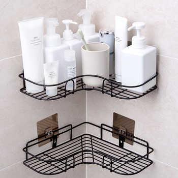 2PCS Traceless Paste Hook Kitchen holder No punch corner Storage holder Bathroom Shelves Convenient iron angle racks - DISCOUNT ITEM  26 OFF Home & Garden