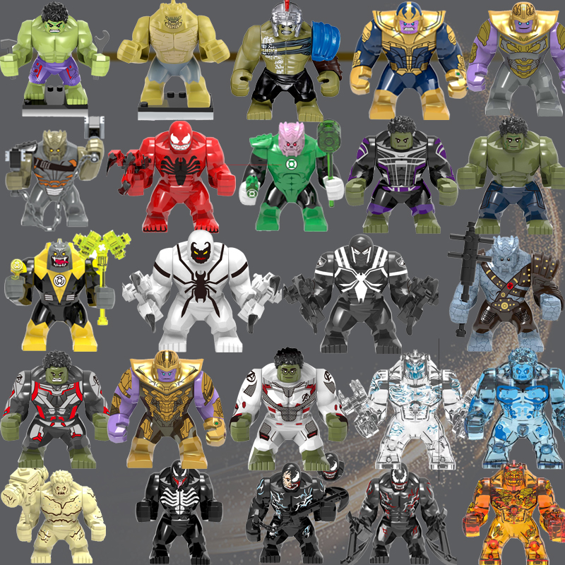 Legoed Big Size The Elementals Crocodile Thanos Venom Hulk Iron Man Black Dwarf Sinestro Carnage Building Blocks Child Toy Gift