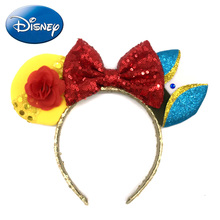 Disney Girls Headband 2019 Beauty and the Beast Minnie Mouse Ears Bow Hairbands Hair Accessories Women Party Princess Plush Toys
